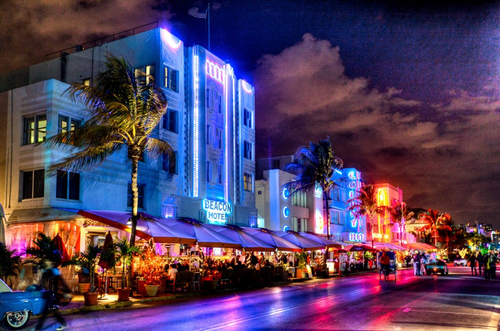 Artistically Stylized Photography Of The Miami Beach Art Deco